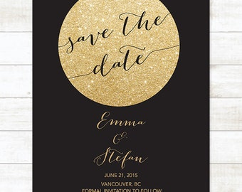 black gold save the date invitation, gold glitter save the date invite, customizable save the date announcement