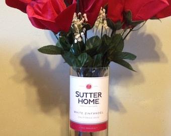 Cut Wine Bottle Vase, Sutter Home White Zinfandel, Flower Vase, Hand Cut Glass Bottle
