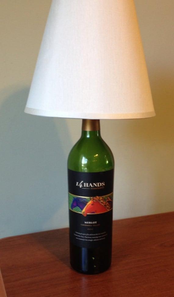 14 hands merlot wine bottle table lamp light small table. Black Bedroom Furniture Sets. Home Design Ideas