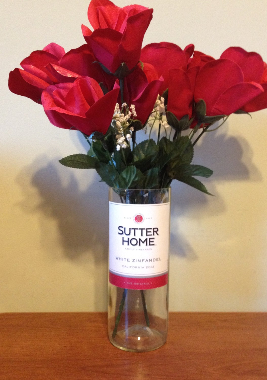 Cut wine bottle vase sutter home white zinfandel flower for Wine bottle flower vase