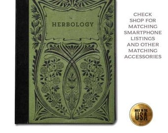 Herbology witches handbook of spells vintage green book cover smart tablet case (ipad 2 3 4, air, mini, Kindle Fire, paperwhite)