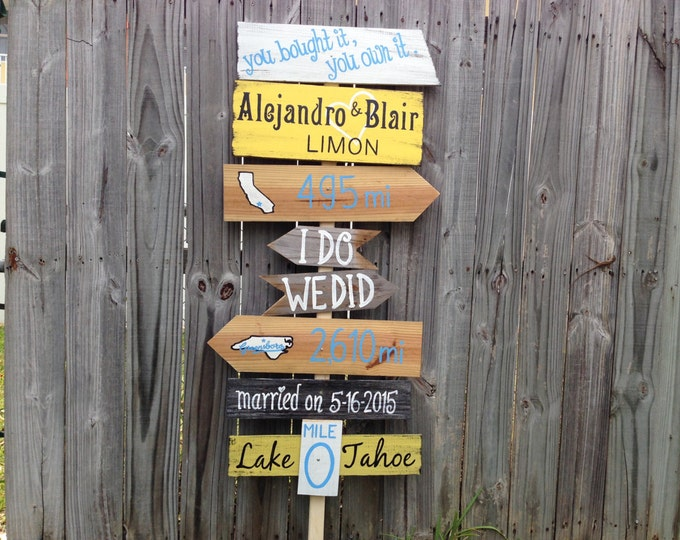 Directional Rustic Wedding Sign, Wood Wedding Ceremony Decor, I Do We Did unique wedding gift.