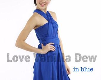Bridesmaid Dress Infinity Dress Royal Blue Knee Length Wrap Convertible Dress Wedding Dress