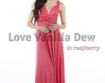Bridesmaid Dress Infinity Dress Raspberry Floor Length Maxi Wrap Convertible Dress Wedding Dress