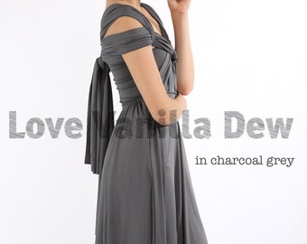 Bridesmaid Dress Infinity Dress Charcoal Grey Straight Hem Knee Length Wrap Convertible Dress Wedding Dress