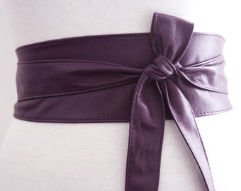 Purple Obi Belt   Sash Belt   Leather Corset belt   Purple Leather Belt  Cinch Belt   Bridal Belt   Bridesmaid Belt   Plus Size   Obi Belt