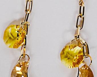 SWAROVSKI MOON EARRINGS, moon earrings, Swarovski moon crystal, Swarovski sun crystal,moon and sun, gold finish chain, lunar earring - 0584+