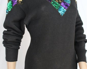 Pretty 80's Black Sweater Dress With Sequined Yoke