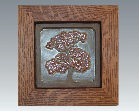 Framed oak tree tile arts and crafts style for by for Arts crafts tiles