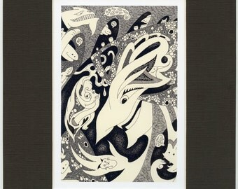 The Surprise 8x10 inch matted print, fine art print, comic print, kid art, fine art, nursery art, small gift