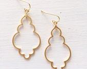 Moroccan Inspired Elegant Teardrop Earrings in Matte Gold or Silver