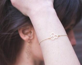 Bracelet Nid d'Abeille Or Mat