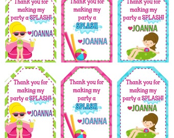 Swimming Pool Birthday Party Thank You Tags