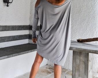 Light Gray Asymmetric Dress - Blouse - Tunic / Plus Size Dress / Asymmetric Plus Size Dress-Blouse-Tunic / Oversize Dress / #35064