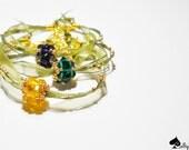Boho-Chic - Tris bracelets - swarovski charm bead and ribbon organza