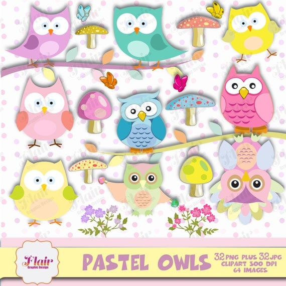 50% OFF PASTEL OWLS Clipart Bird Clipart by FlairGraphicDesign