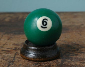 "Green 6 Billiard Pool Ball 2.25"" Number Six VI Solid Solids White Paperweight Plastic Bakelite Display Mancave Game Room Old"