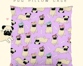 Pug pillow,pug cushion,pillow,pug,cushion,pillow,dog pillow,pug case,cute,pug illustration,dog,cute pillow,lilac,purple pillow,kawaii pillow