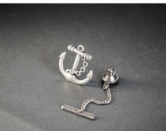 Men's Tie Tack Anchor Tie Tack Nautical Neo Map Steampunk Tie Tack Antique Silver Anchor Lapel Pin Men's Gifts Father's Day Gift