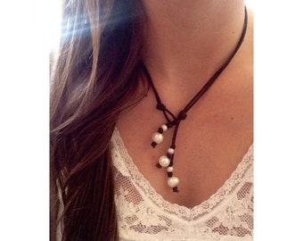 Freshwater Pearl Leather Lariat Necklace