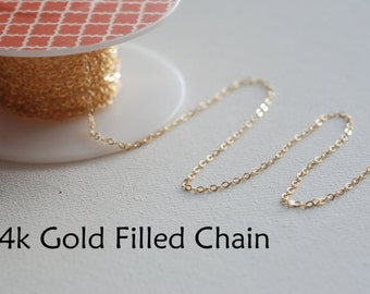 100ft 14k Gold Filled Chain, Round Cable Chain, 1.3mm width Chain