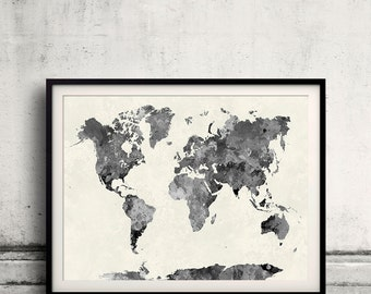 World map in watercolor gray painting abstract splatters - SKU 0411