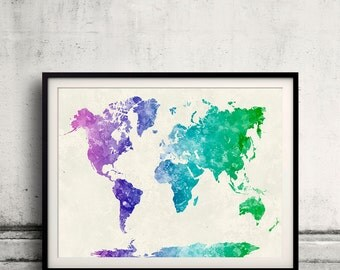 World map in watercolor multicolored painting abstract splatters - SKU 0412