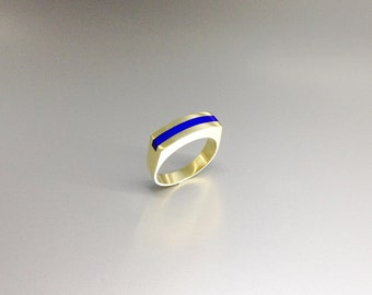 Modern Lapis Lazuli ring with 18K gold - gift idea - inlay work - solid gold - minimal modern design - royal blue gemstone - gold and blue