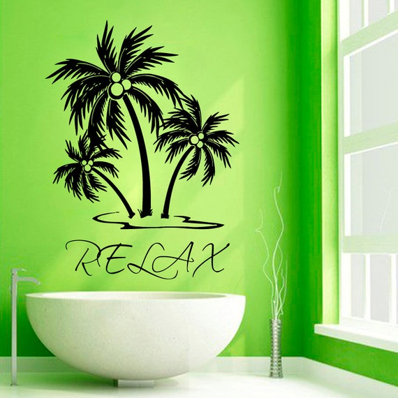 palm tree wall decals relax wall words palms vinyl sticker. Black Bedroom Furniture Sets. Home Design Ideas