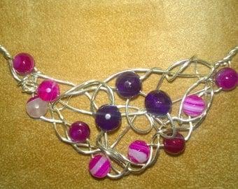 Silver Wire Wrapped Braided Genuine Gemstone Bib Necklace