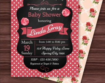Red and Pink Roses Baby Shower Invitation, Polka Dots and Shabby Chic Pattern, Floral Birthday Party, PRINTABLE INVITATION
