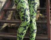 TAFI Marijuana Weed Leggings S-M/L-XL Affordable Black Milk Alternative Yoga Pants (Pot Leaf Custom Print)