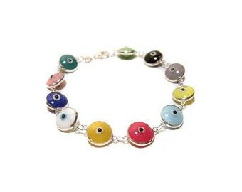 Multicolor Opaque Evil Eye Silver Bracelet