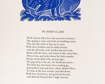 John Clare - To John Clare - Limited Edition Letterpress Poetry Broadside and Collograph