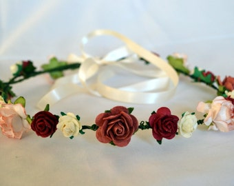 Flower crown perfect for weddings or festivals, ivory, red and burnt umber flowers. Will ship worldwide.