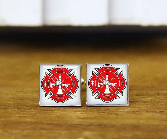 firefighter cufflinks, custom wedding cufflinks, groom gifts, fireman cufflinks, round glass, square cufflinks, tie clip or a matching set