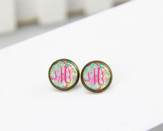 monogram earrings, monogrammed earrings, 1-3 letters, lilly, custom initials earrings, post stud earrings, stud earings, trending earrings