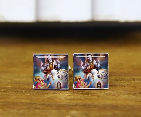 shiva & ganesha cufflinks, Shiva cuff links, ganesha cufflinks, India, custom wedding cufflinks, round, square cufflinks, tie clips, or set