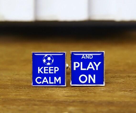 keep calm and play on cufflinks, play on cufflinks, soccer cufflinks, custom wedding cufflinks, round, square cufflinks, tie clips, set
