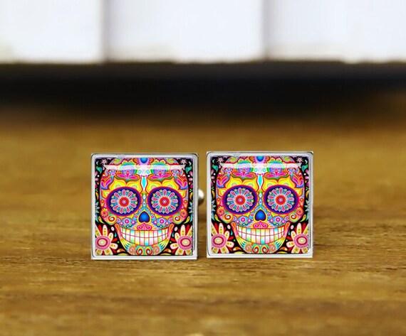 Colourful Sugar Skull Cufflinks, groom cuff links, personalized cufflinks, custom wedding cufflinks, round, square cufflinks, tie clips, set