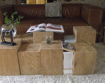 Coffee table made of 7 pieces of solid wood sofa