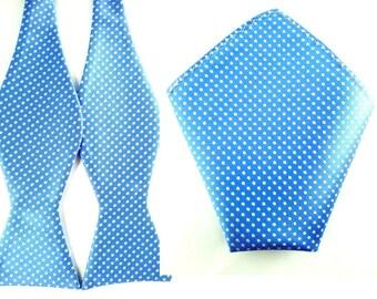 Sky Blue Bold White Polka Dot Self Tied Bowtie Pocket Square.Combo Bowtie Pocket Square.Untied Bow Tie Hanky. Wedding Bowtie Pocket Square.