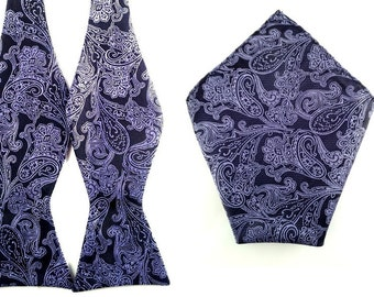 Black with Purple Paisley Self Tied Bowtie Pocket Square.Combo Bowtie Pocket Square.Untied Bow Tie Hanky. Wedding Bowtie Pocket Square.