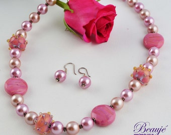 Pink Necklace- Jewellery-Lampwork-Gemstone-Pearls-Necklace and Earrings-Handmade-Beauje- -Designer-Jewelry