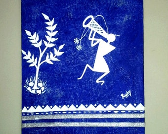 "Original Warli Painting-Merry Making(10""*8""),Home decor,Tribal Art,Folk Art,Acrylic,Free shipping"