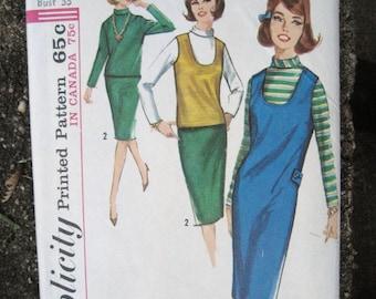 1964 Jumper, Wiggle Pencil Skirt, & Top Vintage Pattern, Simplicity 5621, Size 13, Bust 33