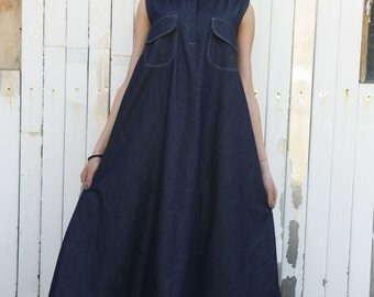 Denim Long Dress / Sleeveless Blue Dress / Blue Jean Dress / Denim Kaftan / Maxi asymmetrical dress