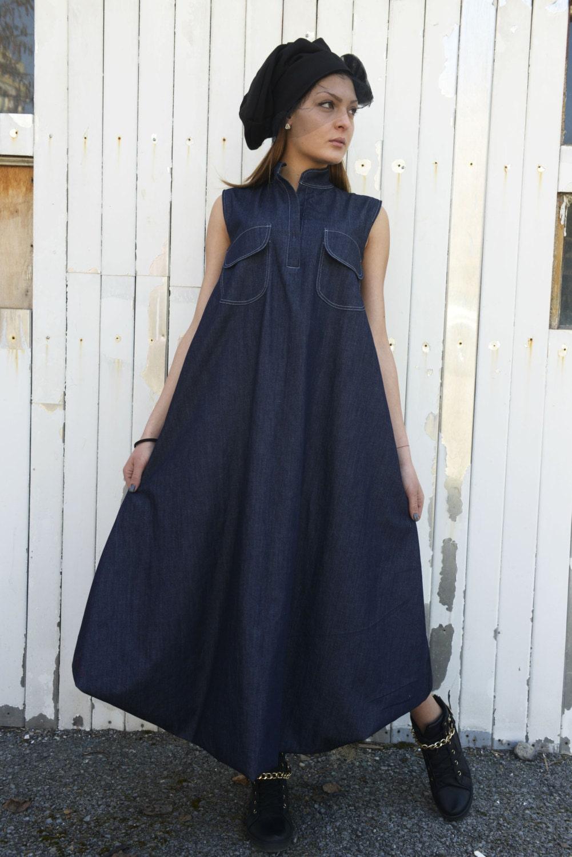 Oversize Denim Dress Miyoshi Josei Mj18dr024sr Medium Blue Biru S Maxi Jean Kaftan