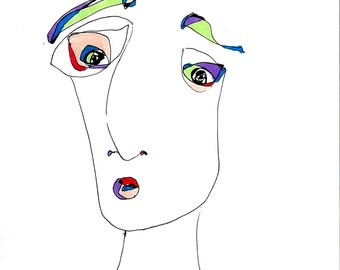Modern Art Print-- Abstract Face, Minimalist Drawing. Pen and Ink
