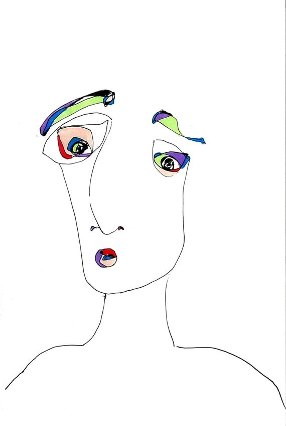 Modern art print abstract face minimalist drawing pen and for Minimal art face